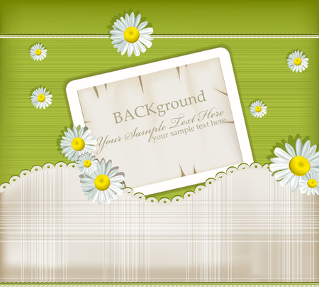 colored paper: Vector greeting card on vintage background with daisies
