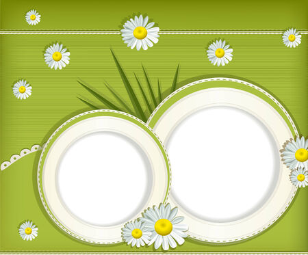 Vector greeting card with daisies and abstracts background Vector
