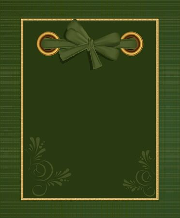 old diary: greeting green album for photos with a bow