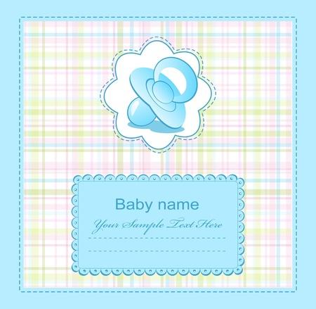 bebe azul: baby Blue felicitaciones para el ni�o Vectores