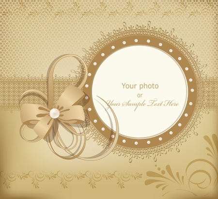 wedding card design: gold greeting wedding frame for photo with a bow, pearls and lace