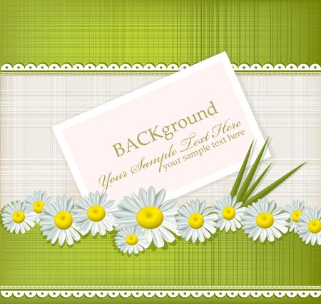 wedlock: greeting card with daisies and abstracts background Illustration