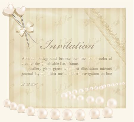 invitation retro background with ribbons, flowers, leaf, two heart Stock Vector - 9157308