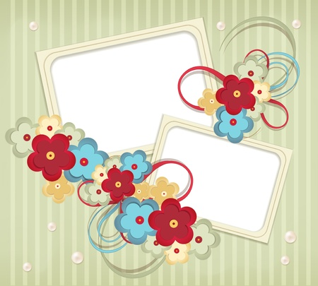 scratch card: congratulation retro background with ribbons, flowers