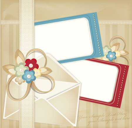 scratch card: vintage background with frames  and flowers ,envelope, lace on striped background