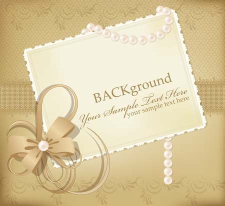 scrap gold: congratulation gold retro background with ribbons,pearls,bow Illustration