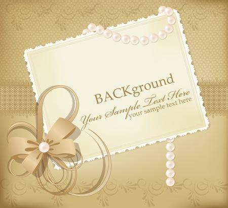 perlas: Fondo retro de felicitaci�n oro con cintas, perlas, arco