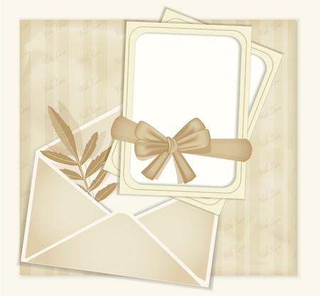 enveloppe ancienne: arri�re-plan r�tro de f�licitations � ruban, enveloppes, feuilles