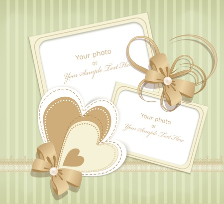 scratch card: congratulation retro background with ribbons, flowers and lace on a green striped background Illustration