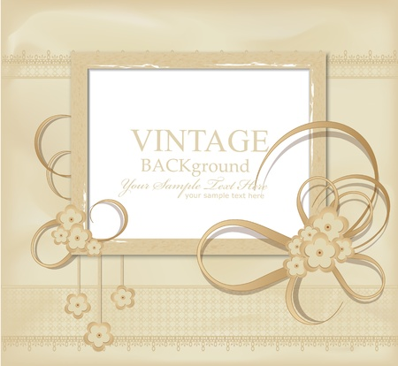 congratulation vintage background with ribbons, flowers, lace Vector