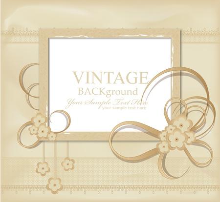 cartoline vittoriane: vintage background congratulazione con nastri, fiori, pizzo Vettoriali