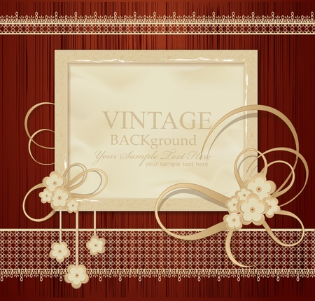 scratch card: congratulation vintage background with ribbons, flowers, lace on wood Illustration