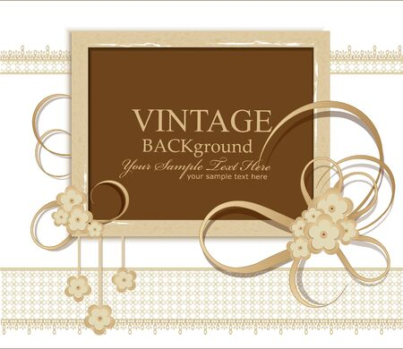 postcard design: congratulation vintage background with ribbons, flowers, lace