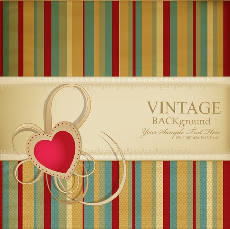 antique wallpaper: congratulation retro background with ribbon, heart on a striped background