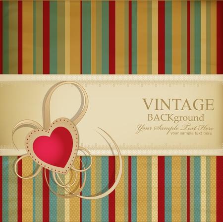 antiek behang: Heilwens retro achtergrond met lint, hart op een gestreepte achtergrond