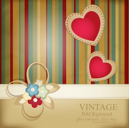 wedding backdrop: congratulation retro background with ribbons, flowers and two hearts on a striped background