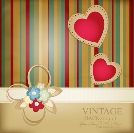 wedding backdrop: sfondo retr� congratulazione con nastri, fiori e due cuori su uno sfondo a righe