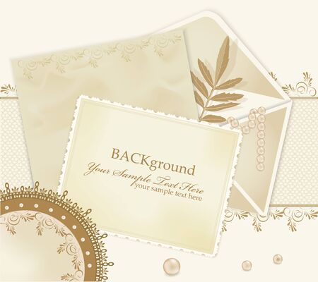 congratulation retro background with  lace, envelopes, leaf, pearls Vector