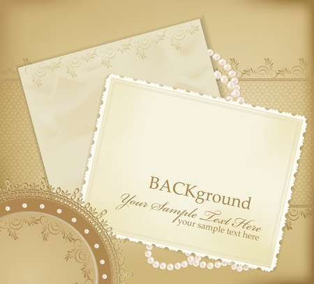scratch card: congratulation gold retro background with ,pearls, lace, lette