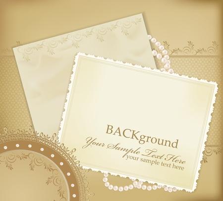 cartoline vittoriane: sfondo retr� congratulazione oro con perle, pizzi, lette