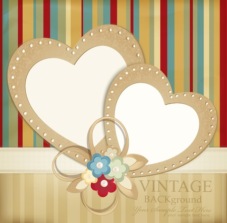 scratch card: congratulation retro background with ribbons, flowers and two hearts on a striped background