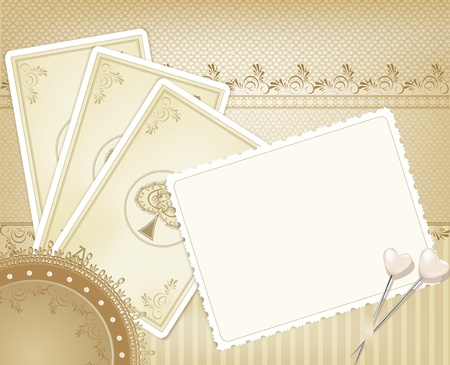 background paper: vector congratulation gold retro background with  playing cards Illustration