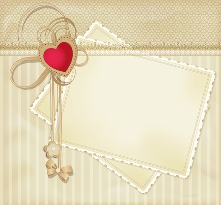 wedding photo frame: congratulation gold vector retro background with red heart