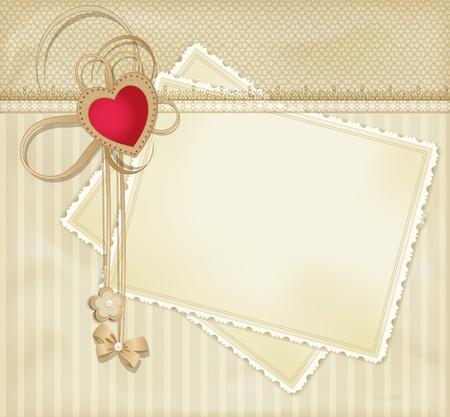 photo album page: retro fondo de oro vector de felicitaci�n con coraz�n rojo Vectores