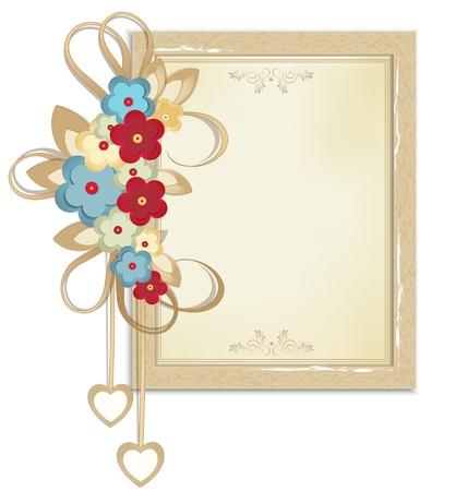 wedding photo frame: Cornice festosa vettoriale di cartone con i colori ed i modelli su carta