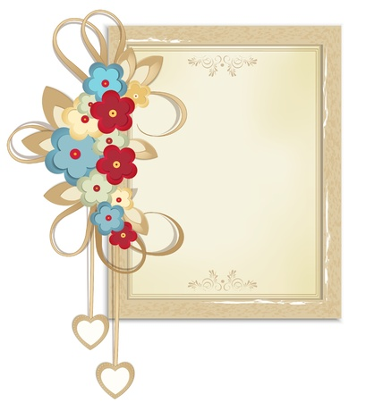 wedding photo frame: Vector festive frame of cardboard with the colors and patterns on paper