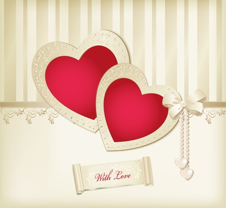 wedding card design: Vector beige background with photo frames two red hearts, ribbon and pearls