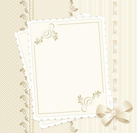 wedding photo frame: sfondo vettoriale congratulazione con pizzi, nastri, fiocchi
