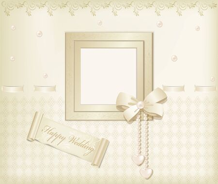 Vector beige background with photo frames, ribbon and pearls Vector