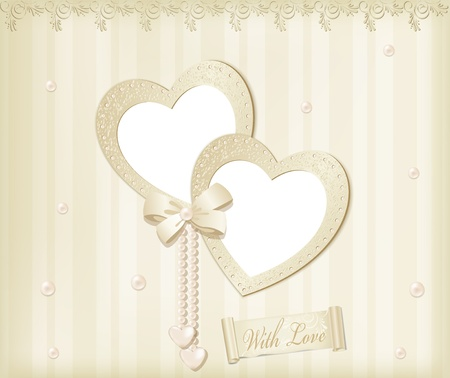 wedding photo frame: Vector beige background with photo frames-hearts, ribbon and pearls