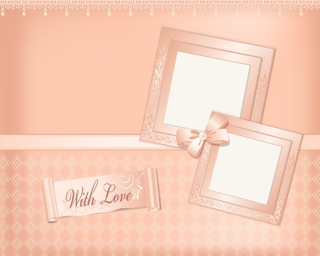 Vector pink  background with photo frames, ribbon and pearls Vector