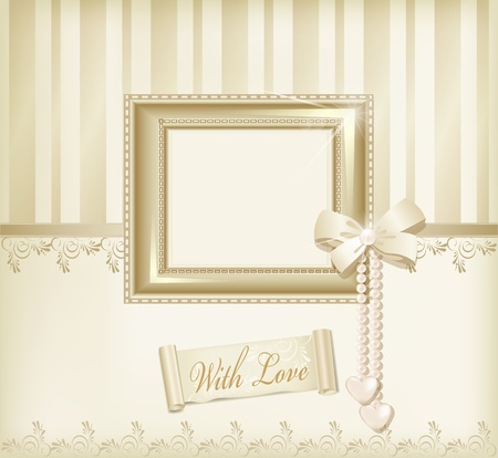 love photo: Vector beige background with photo frames, ribbon and pearls