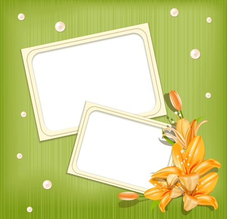 vector green background  with frames for photos, lilies and  pearls Vector