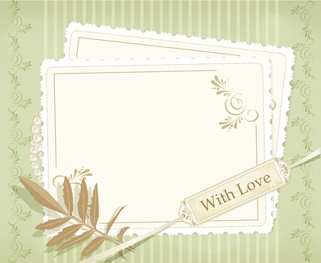 wedding photo frame: congratulation vector retro background Illustration