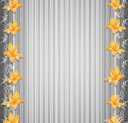 vector grey background  with border lilies  Vector