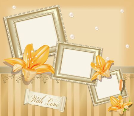 wedding photo frame: Vector  background with three photo frames, ribbon, pearls and  lilies