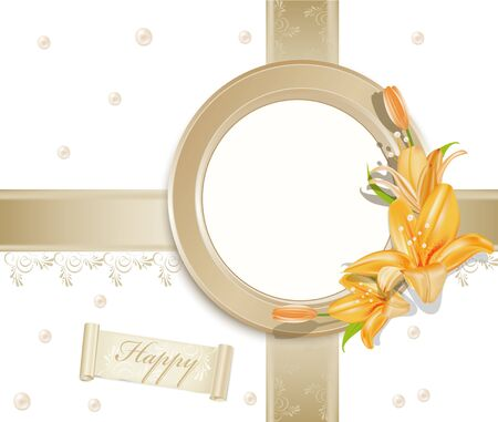 vector background  with  circular  photo frame, lilies and pearls  Vector
