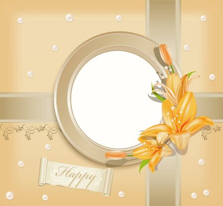 vector background  with circular  photo frame, lilies and pearls Stock Vector - 9223819