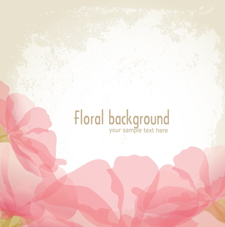 wedding card design: vector pink petals of a flower on grunge background