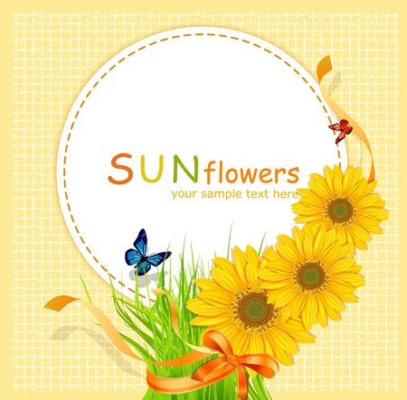 yellow flower: vector holiday background with a round card, sunflowers and green grass