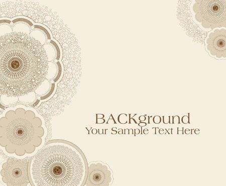 outline flower: vector abstract background beige