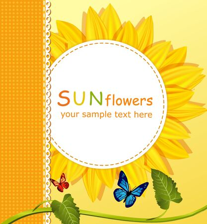 vector holiday background with a round card, sunflowers Stock Vector - 9279426