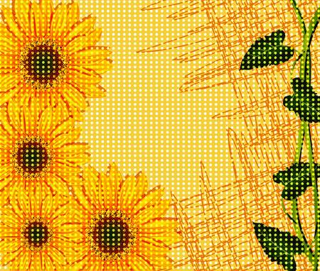 sunflowers: vector abstract background with sunflowers
