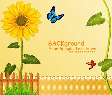 vector background with yellow sunflowers, fence, green grass and butterflies