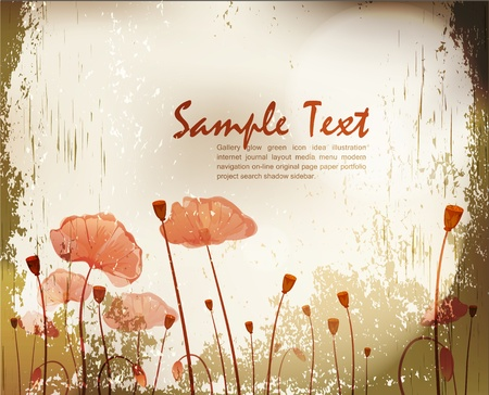vector grunge background with poppies Stock Vector - 9306841