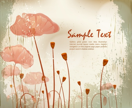 vector grunge background with poppies